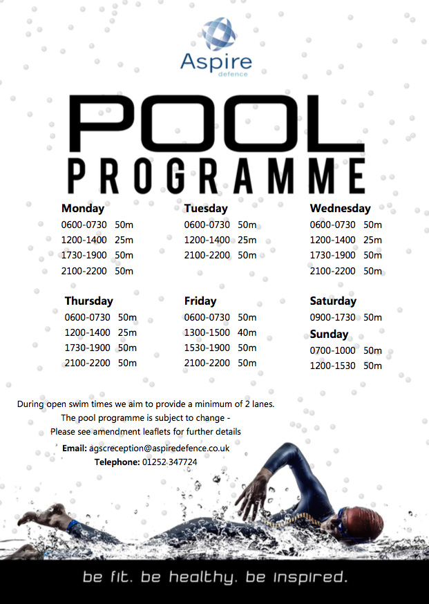 Pool Timetable Aspire Defence Services Limited